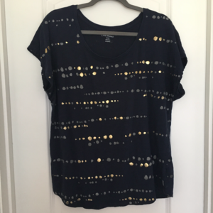 Lane Bryant Navy Top with Gold Dots