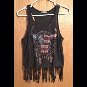 Fringe Graphic Tank Charlotte Russe