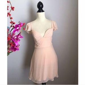 Nastygal NWOT silky blush pink skater dress