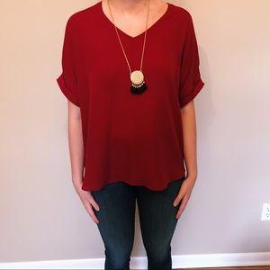 Francesca's Red V-Neck Flowy Shirt