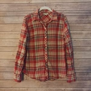 Lucky brand red plaid button down blouse