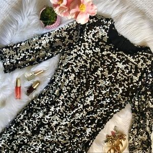 French Connection black/silver Sequin Dress