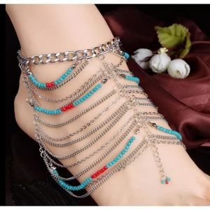 Jewelry - Boho Turquoise Red Bead Foot Jewelry Sandals