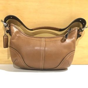 Brown Leather Baguette Crescent Soho Hobo