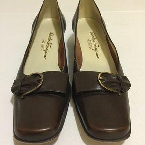 Ferragamo Coffee Brown Leather Flats