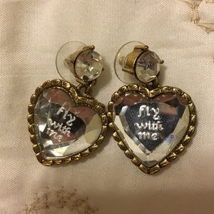 "Betsy Johnson ""Fly with Me"" Crystal heart earrings"