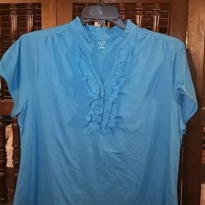 Blue ruffle top, size 1X