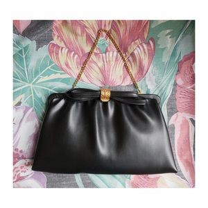 Handbags - Classic Vintage Black and Gold Faux Leather Clutch