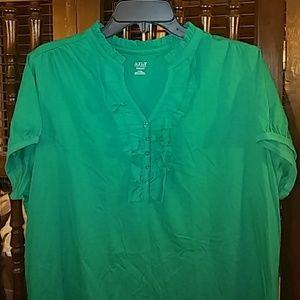 a.n.a green ruffle top, size 1X