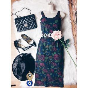 Vintage Floral Bodycon Midi Wiggle Dress SM