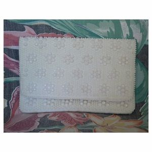 60s Vintage Decorative White Clutch