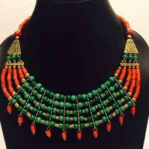Handmade green turquoise synthetic stone necklace