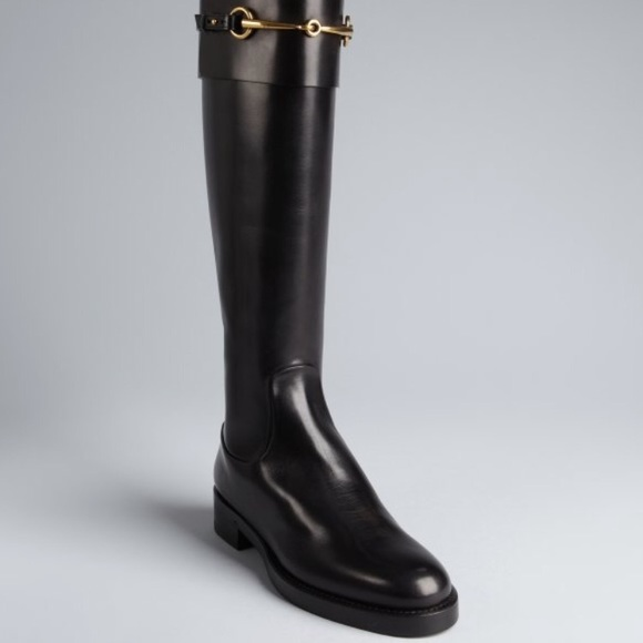 564105337 Gucci Shoes | Jamie Flat Riding Boots In Black | Poshmark