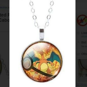 1 New Pokémon CHARIZARD GLASS PENDANT NECKLACE, used for sale