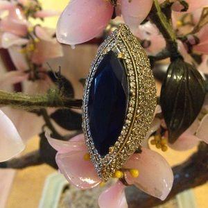 Vintage 925 deep natural sapphire ring