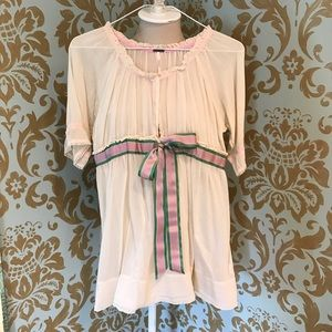 Free People Cream Sheer Tunic Top with Ribbon