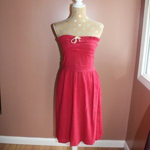 Red anthro strapless summer dress