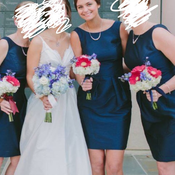34180950b46 Alfred Sung navy bridesmaid dress Style  D522