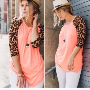 Tops - Fall in Love Coral Leopard Top