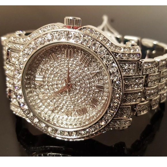 Accessories Watch Gold Out Diamond Poshmark Brand New White Mens Iced