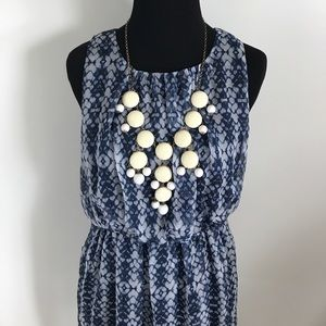 Forever 21 Navy blue and gray hi-low summer dress