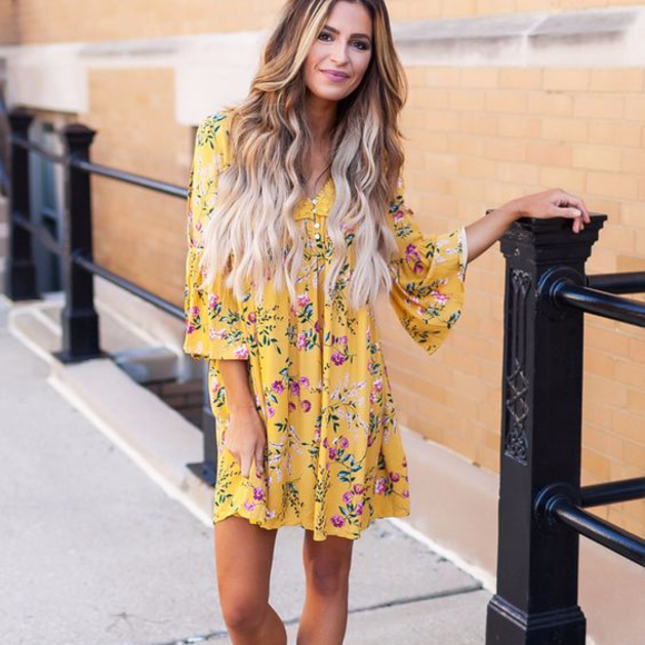 83e1422ea2234 Mustard Floral Tunic - Dottie Couture Boutique