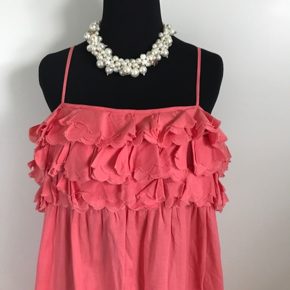 J. Crew Dresses & Skirts - J.Crew coral pink sleeveless ruffle summer dress M