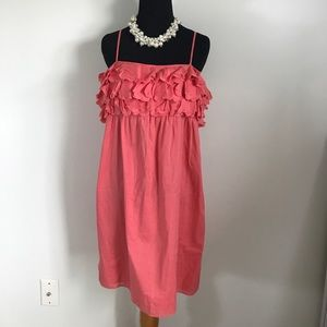 J. Crew Dresses - J.Crew coral pink sleeveless ruffle summer dress M