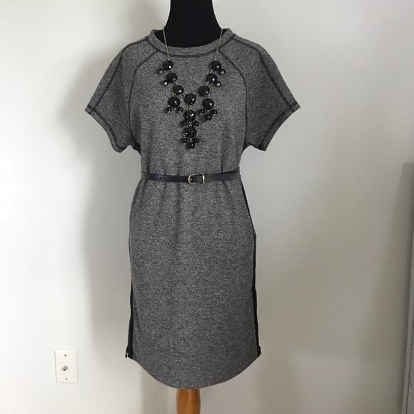 Madewell Dresses - Madewell Gray Pink Black Shift Sweatshirt Dress XS