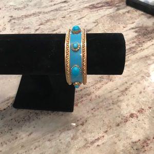 Gold and turquoise fashion bangle