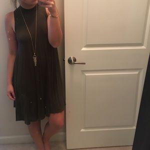 Dresses & Skirts - Olive green turtleneck shift dress