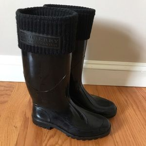 Burberry Rain Boots Wellies Size 7 / 37 - black