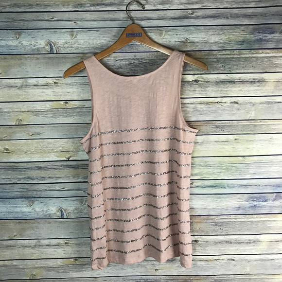 J. Crew Tops - J.Crew Sequin Line Tank Cotton Silver Pink Stripe