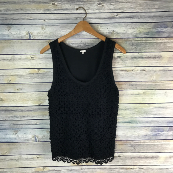 J. Crew Tops - J.Crew Scalloped Lace Shell Black Cotton Eyelet