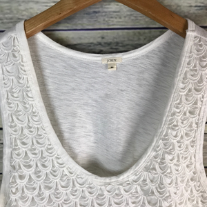 J. Crew Tops - J.Crew Scalloped Lace Shell White Cotton Eyelet