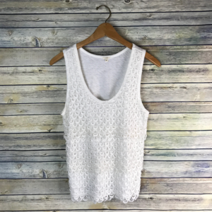 J.Crew Scalloped Lace Shell White Cotton Eyelet