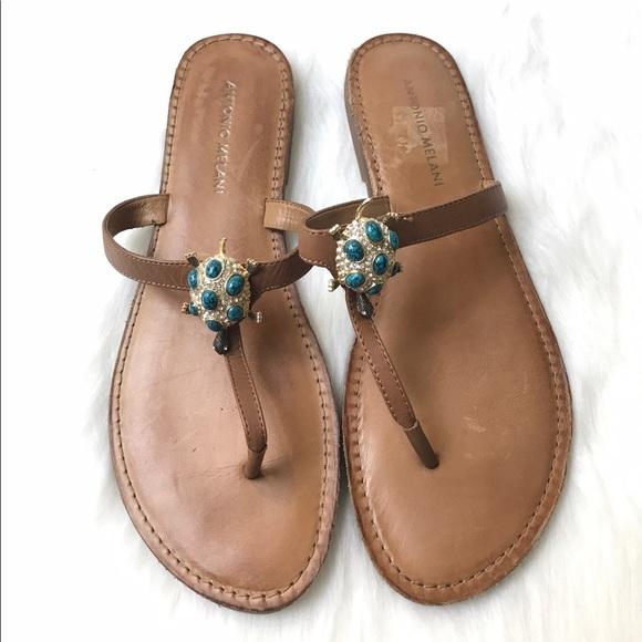 39768aad9bd6 ANTONIO MELANI Shoes - Antonio Melani Tonya Tan Leather Thong Sandals