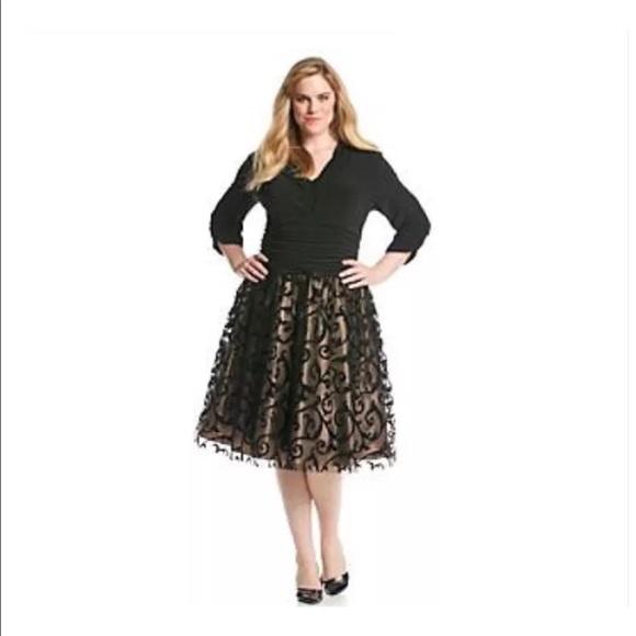 Plus size formal Black overlay dress full skirt