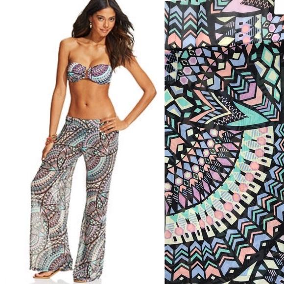 bar iii mosaic print sheer swim cover up pants m