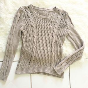 Sweaters - Taupe brown cable knit Sweater