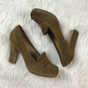 Talbots Corrine Suede Penny Loafer Chunky Heels