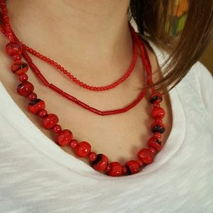 Jewelry - Red Coral Necklace Bundle (3)