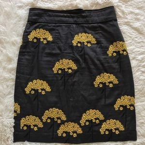 Floreat by Anthropologie Embroidered Fennel Skirt