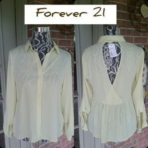 Gorgeous Yellow Sheer Top by Forever 21 NWT