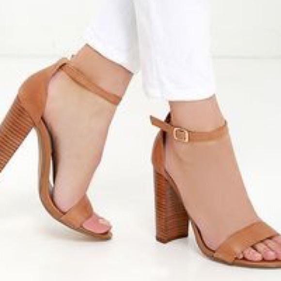 06d9a8b7469 Steve Madden Carrson Tan Leather Ankle Strap Heels