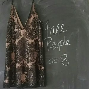 Free People Night Shimmer Sequin Dress Black Sz 8