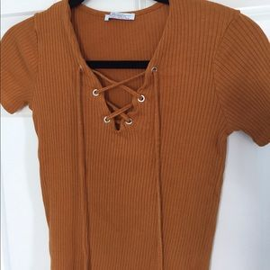 Zara Cross Front Ribbed Fitted Festival Style Top
