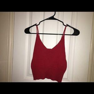 dad1d7a16d1340 Brandy Melville Tops - Brandy Melville red vneck Knit Luna tank top