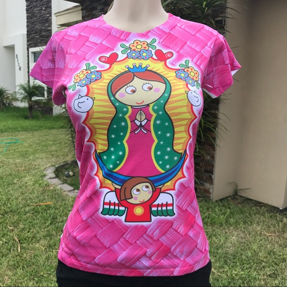 7a6d87596 Cielito Lindo Tops | Our Lady Of Guadalupe Cartoon Tshirt Short ...
