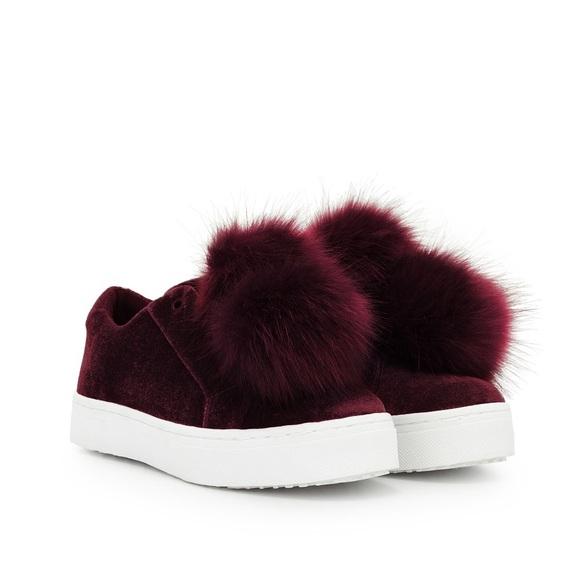 62a03c4ba478 Leya Wine Velvet Fur Sneaker. M 596a765ff09282bb0001aa27